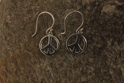 Boucles d'oreille argent 925e symbole peace and love petit